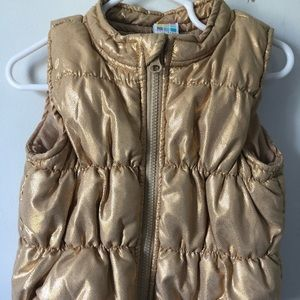 Gold shiny Toddler Puffer Vest. Zip up.